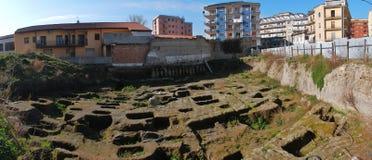 Benevento - nekropolupptäckt Arkivfoto