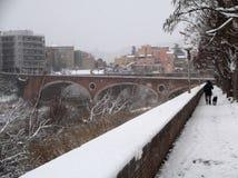 Benevento - sikt av värmebron med snö Fotografering för Bildbyråer