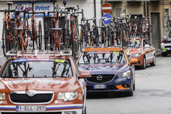 Benevento, 17th may 2015  - giro d'italia 2015 cyclist on bike race Stock Images