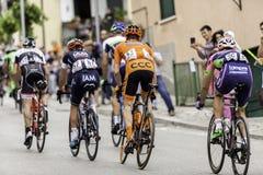 Benevento, zeventiende kan 2015 - de fietser van girod'italia 2015 op fietsras Stock Foto's