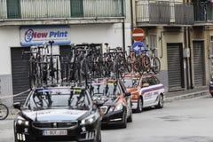 Benevento, zeventiende kan 2015 - de fietser van girod'italia 2015 op fietsras Royalty-vrije Stock Fotografie