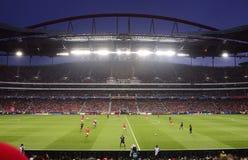 Benfica - Baviera, estadio de fútbol, defiende el juego de fútbol de la liga Imagen de archivo libre de regalías