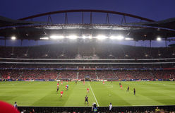 Benfica - Bayern, fotbollsarena, kämpar för ligafotbollleken Royaltyfri Bild