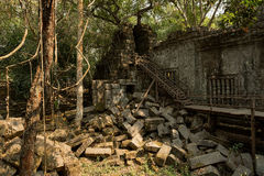 Beng Mealea stairs and stones. On east side Royalty Free Stock Images