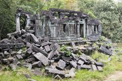 Beng Mealea temple  ruin in the Koh Ker complex, Siem Reap, Cambodia.  Stock Photos