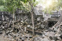 Beng Mealea temple  ruin in the Koh Ker complex, Siem Reap, Cambodia.  Stock Photography