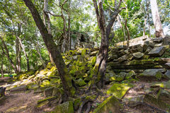 Beng Mealea temple ruins. In Angkor, Cambodia, The temple largely unrestored and is utterly consumed by jungle Royalty Free Stock Images