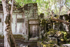 Beng Mealea temple ruins. Blind door, lintel and pediment in Beng Mealea temple ruins in Angkor, Cambodia, The temple largely unrestored and is utterly consumed Royalty Free Stock Photography