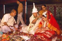 Bengaalse huwelijksRituelen in India Royalty-vrije Stock Foto