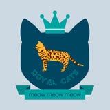 Bengal cat flat badge Royalty Free Stock Photo