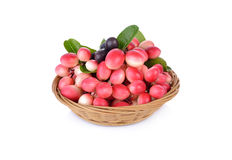 Bengal-Currants, Carandas-plum, Karanda fruit with leaf in bambo. O basket and on a white background Stock Images