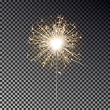 Bengal fire. New year sparkler candle isolated on transparent background. Realistic vector light eff. Ect. Party backdrop. Sparkler vector firework. Magic light vector illustration