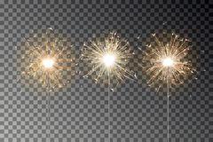 Free Bengal Fire Sparkle Vector Set. New Year Sparkler Candle Isolated On Transparent Background. Realist Stock Image - 131311491