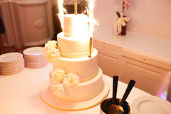Bengal fires sparkle being put in a beautiful wedding cake Royalty Free Stock Photos
