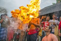 fireball and devotee during gajan festival