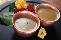 Bengal grampudding, Kadalai paruppupayasam Arkivbild