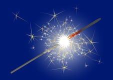 Bengal light. Burning sparkler. Pyrotechnics. Vector illustration Stock Photos