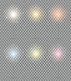Bengal Lights Set. Christmas Sparkler  on Transparent Ba. Ckground. Vector Illustration Royalty Free Stock Image