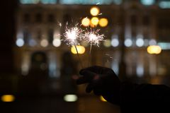 Bengal lights, sparkle background. Christmas time, new year. Outdoor Royalty Free Stock Images