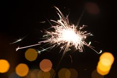 Bengal lights, sparkle background. Christmas time, new year. Outdoor Royalty Free Stock Photography