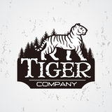 Bengal Tiger in forest logo vector. Mascot shirt design template. Shop or product illustration. Expedition insignia Royalty Free Stock Images