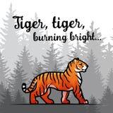 Bengal-Tiger im Waldplakatdesign Doppelbelichtungsvektorschablone Altes Gedicht durch William Blake-Illustration auf nebeligem Lizenzfreies Stockbild