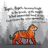 Bengal-Tiger im Waldplakatdesign Doppelbelichtungsvektorschablone Altes Gedicht durch William Blake-Illustration auf nebeligem Stockbild