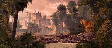 Bengal tiger och slott Arkivbild