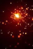 Bengala de la Navidad en neblina con la luz roja Imagenes de archivo