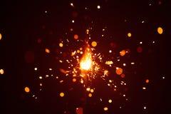 Bengala de la Navidad en neblina con la luz roja Imagen de archivo