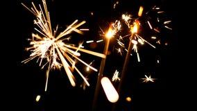 Bengalas ardientes Luces de la Navidad y del Año Nuevo Fotografía de archivo