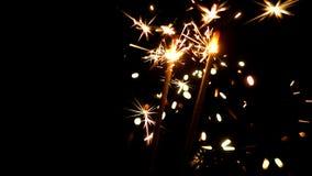 Bengalas ardientes Luces de la Navidad y del Año Nuevo Imagen de archivo