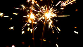 Bengalas ardientes Luces de la Navidad y del Año Nuevo Foto de archivo libre de regalías