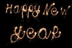 Bengalas de la muestra de la Feliz Año Nuevo Fotografía de archivo