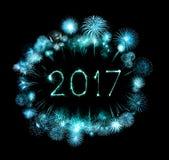 2017 bengalas del fuego artificial de la Feliz Año Nuevo Imagen de archivo libre de regalías