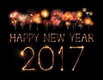 2017 bengalas del fuego artificial de la Feliz Año Nuevo Fotos de archivo