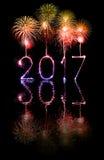 2017 bengalas del fuego artificial de la Feliz Año Nuevo Foto de archivo libre de regalías