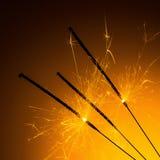 Bengalas quemadas de los fuegos artificiales Imagen de archivo libre de regalías