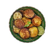 Bengali Beguni. Beguni, made of eggplant which is sliced and battered , Bengali cuisine, Asia Traditional assorted dishes, Top view stock photography