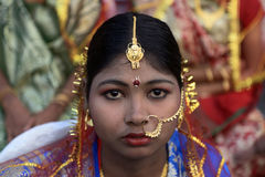 Bengali Bride. Aloy Fera (NGO) and GD Pharmaceuticals organized a mass marriage ceremony for couples those who cannot afford their wedding for financially cause Stock Photography