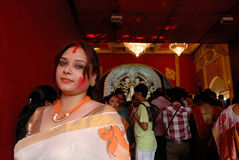 Bengali Community In Kolkata. Durga Puja Festival, the 5-day long celebration is celebrated all over the world by all Bengali speaking people from India during Royalty Free Stock Image
