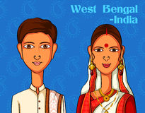 Bengali Couple in traditional costume of West Bengal, India Stock Photo