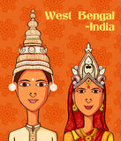 Bengali Couple in traditional costume of West Bengal, India Stock Images