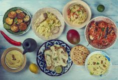 Bengali cuisine. б Asia Traditional assorted dishes, Top view Stock Photography