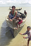 Bengali fisherman has problem mooring by high water Stock Images