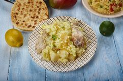 Bengali Muri Ghonto. Muri Ghonto, popular dish Bengali cuisine, Asia Traditional assorted dishes, Top view Royalty Free Stock Images