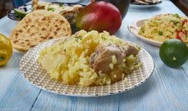 Bengali Muri Ghonto. Muri Ghonto, popular dish Bengali cuisine, Asia Traditional assorted dishes, Top view Stock Image