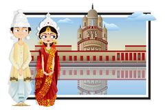 Bengali Wedding Couple. Easy to edit vector illustration of Bengali wedding couple Stock Photos