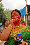 Bengali Woman At Durga Festival Royalty Free Stock Photos