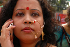 Bengali Woman. A Bengali woman with traditional ornaments during the Durga Festival at Kolkata Stock Images